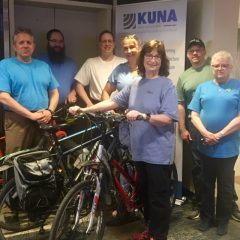 Jay Hermanson, Ben  Lloyd, Daniel Nichols, Suzanne Taylor, Marlene Stengel, Sam Strackeljahn, and Sandi Velleca. Bike to Work Day 2019.